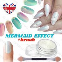 5g MERMAID EFFECT POWDER + BRUSH NAILS ART DUST IRIDESCENCE Trend Glitter Mirror