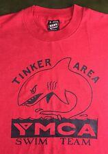 Vintage Mens XL 90s Tinker Area YMCA Swim Team Graphic Shark Red T-Shirt