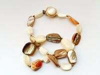 """Vintage 17.5"""" Mother Of Pearl Beaded Necklace"""