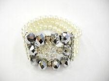 Stylish Bride Wedding Ivory Color Pearl Bead Crystal Ball Stretch Bracelets P-01
