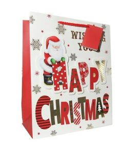 3 Gift Bags Extra Large Portrait HAPPY CHRISTMAS SANTA 305 x 379 x 202mm