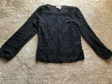 new Forever 21 Essentials black silky lace blouse top shirt long sleeve small,s