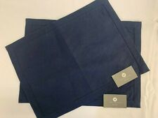 """HOTEL COLLECTION Placemats Lot of 2 NWT 14"""" x 19"""" 100% Linen Navy Blue"""