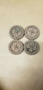 "Lot (4) VTG Wood Furniture Trim Pieces Rosettes Round Flowers Daisy Floral 2"""
