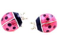Gold tone red and black enamel ladybird ladybug stud earrings