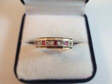 PRETTY VINTAGE, 9ct GOLD RED & CLEAR STONE ETERNITY RING UK SIZE W1/2  5.6g