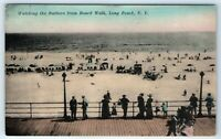 Vintage Postcard Watching Bathers From Boardwalk Long Beach NY Long Island