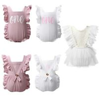 Infant Baby Girls V-Back Tulle Romper Dress Lace Embroidery Bodysuit Jumpsuit