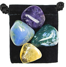 JOY & HAPPINESS Tumbled Crystal Healing Set = 4 Stones + Pouch +Description Card