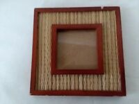 "Wood Rattan Square Picture Frame 2 1/2"" x 2 1/2"""