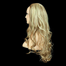 Ladies 3/4 WIG Half Fall Clip In Hair Extension WAVY Medium Brown/Blonde #6/613