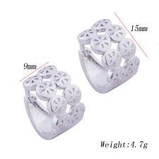Kid Girls Childrens Lucky Safety Flower hoop earrings Jewelry white gold fiiled