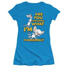 PINKY AND THE BRAIN PONDERING Women & Junior Tee Shirt SM-2XL