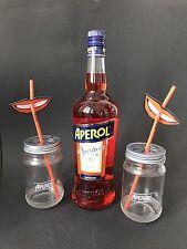 Aperol Aperitivo 1l Liter 15% Vol + 2 Aperol Glas Jar Gläser + 10 Trinkhalme