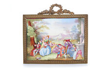 19th c. French Fabulous Painted Porcelain Plaque w/Bronze Empire Frame