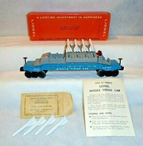 """LIONEL No. 6544  MISSILE FIRING TRAIL CAR, INSTRUCTIONS,HI-GRADE """"BRICK"""" OB - C9"""