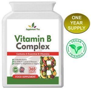 Vitamin B Complex (365 Tablets) With B1, B2, B3, B5, B6, B12, Biotin, Folic acid