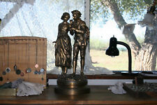 """LARGE """"RANCOULET FRENCH BRONZE"""" DOUBLE FIGURINE STATUE, 22 INCHES EXCELLENT COND"""