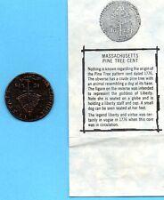 Massachusetts Pine Tree Cent Souvenir Metal with Description
