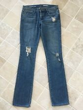 WOMENS QUIKSILVER JEANS MARITIME SLIM STRAIGHT SIZE 26 APPROX 10 RIPS BLUE #1079