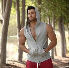 Men Gym Clothing Bodybuilding Stringer Hoodie Tank Top  Hooded Shirt