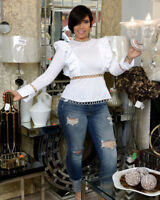 Women Long Sleeves Ruffled Clubwear Cocktail Party White Tops Shirts Blouses