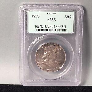 1955 PCGS m65 Franklin Silver Half Dollar! original toning, Old Green Holder