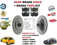 FOR RENAULT CLIO 1.8 2.0 16V WILLIAMS SPORT REAR BRAKE DISCS SET + DISC PADS KIT