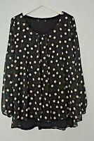 New Ex Evans Black+Beige Polka Dot Sparkle Split Back Top Blouse Plus Size 22