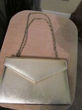 GOLD SATINE WITH GOLD CHAIN STRAP FORMAL HAND BAG