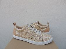 UGG KARINE PINK MULTI CHUNKY GLITTER LEATHER LACE-UP SNEAKERS, US 10/ EUR 40 NIB