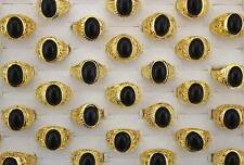 Men's Gold P Cool rings L835 Bulk Lots 18pcs Nature Black stone