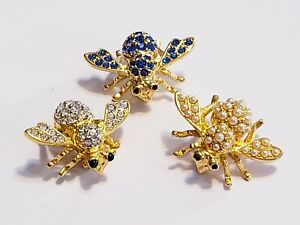 3 Piece Joan Rivers Crystal Pave Mixed Stone Bee Brooch Lot