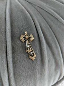 Vintage Victorian 14k Yellow Gold Diamond and Seed Pearl Bow Pendant
