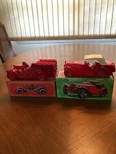 2 Collectible Avon Car Bottles -1936 Mg & A 1910 Fire Fighter