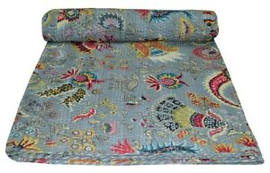 Indian Handmade Vintage Kantha Quilt Bedspread Throw Cotton Blanket Grey Mukat