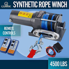 12V 4500LBS/2041KG Electric Winch 13M Synthetic Rope Remote ATV 4WD BOAT 4X4 4WD