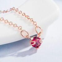 Damen 925 Sterling Silber Halskette Katze Rubin Edelstein Anhänger Geschenk Neu.