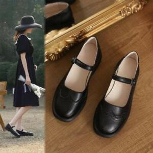 Women's Fashion Leather Round Toe Buckle Strap Preppy Style Mary Jane Shoes SUNS