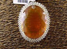 Huge Oval Mexican Fire Opal & Diamond Necklace Pendant 14K Yellow Gold 65.0Ct