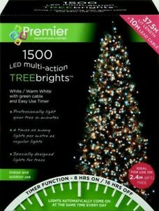 1500 LED Multi-Action TreeBrights Christmas Tree Lights Timer - WHITE/WARM WHITE