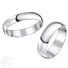 18ct White Gold His & Hers Wedding Bands Set 5mm & 6mm Rings Solid & Hallmarked
