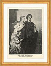 Antigone und Ismene Emil Teschendorff Griechische Mythologie Holzstich A 0176