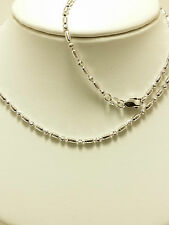 18k Solid White Gold Sparkle Hollow Beaded Necklace / Chain 5.75 Grams
