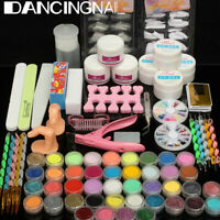 42Pcs Acrylic Powder Liquid Nail Art Kit Glitter UV Gel Glue Tips Brush Set