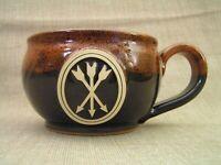 Sunset Hill Stoneware USA Large Coffee Mug Cup w/ 3 Crossed Arrows Logo - Mint!