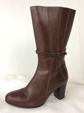 Clarks Artisan Womens 10 M Brown Leather Boots Galway Mid Calf Zip Up 73319 Heel