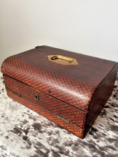 Rare Antique Leather Bound Writing Slope & Fitted Stationery Box Travelling Case