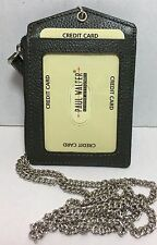 NEW LEATHER ID BADGE HOLDER GREEN ZIPPERED LANYARD WITH NECK CHAIN 3 CARDS SLOT