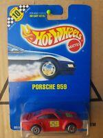 HOTWHEELS 1991 BLUE CARD PORSCHE 959 [RED] VHTF NEAR MINT CARD GOOD